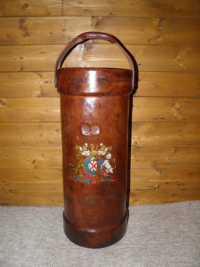 WWI Large Leather Shell Carrier With Military Motif  - 51cm Tall