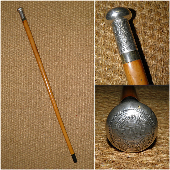 Antique Repousse Continental Silver Topped Walking Stick 'Brunei 1927' 'W.H.H.'