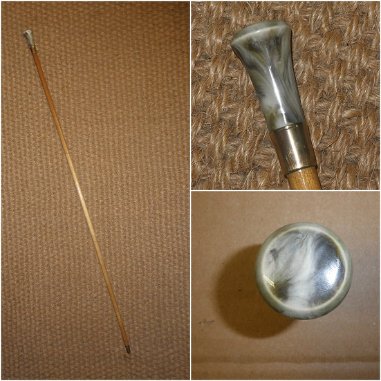 Antique Gold Plate Dress Cane - With A Petite Marble Like Glass Top - 88cm