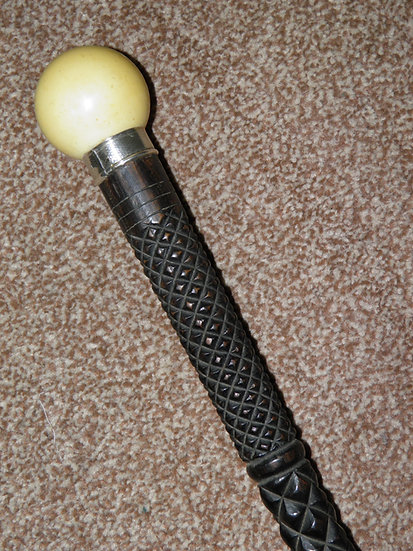 Antique Billiard/Snooker Inspired Walking Cane With Hand Carved Ebony Shaft