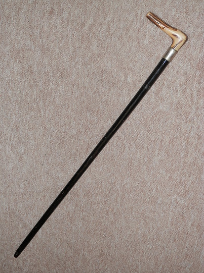Antique Flexible Stick/Cane - Antler Handle Furnished W/ Nickel Silver Collar