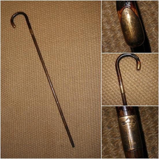 Antique 18 Carat Gold Plate Crook Top Walking Stick/Cane - 89cm