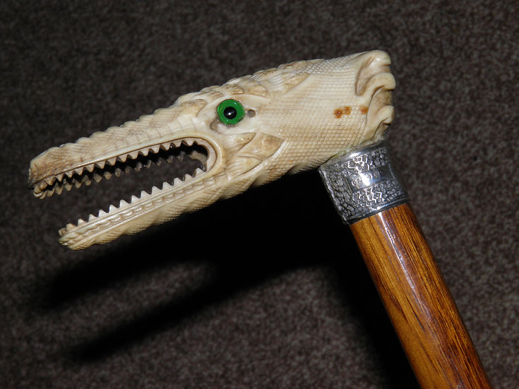 Victorian Hallmarked 1890 Silver Walking Cane W/Intricate Hand Carved Dragon Top