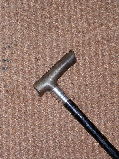 Antique Horn Derby Handle Hallmarked Silver Walking Stick Birmingham 1962
