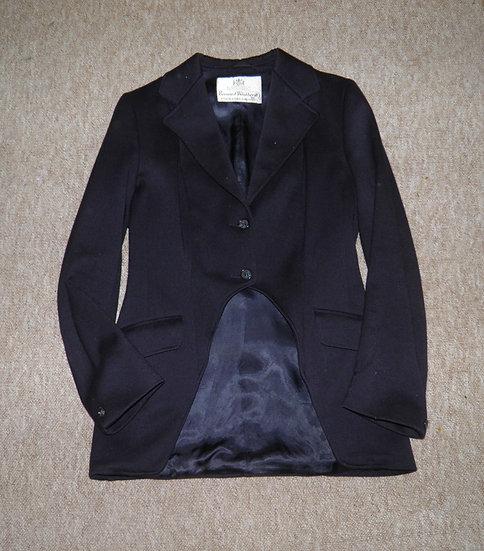 "Vntge Ladies Bernard Weatherill Navy Wool Cutaway Show/Hunt/Side Saddle Coat 36"""