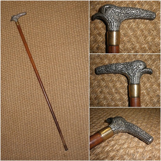 Antique Traditional Continental Silver & GP Dress Cane - 83cm
