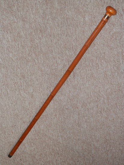 Antique Walking Cane With Treen Rounded Pommel Top & Gold Plated Collar - 86cm