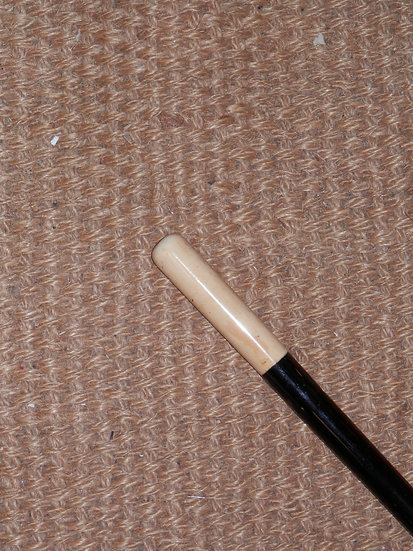 Antique Ebony and Ivory Handle Simple Sleek Design Heavy Walking Stick 92cm