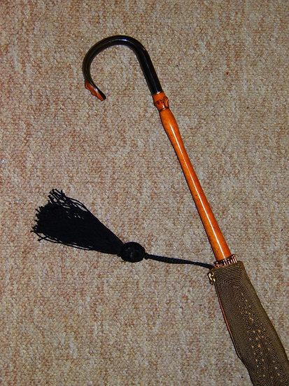 Antique Ladies Black Canopy Umbrella W/ Horn Crook Handle & Cotton Cover