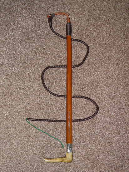 """Vintage Gents Malacca Cane Hunt Whip With Leather Thong - """"G.C.Elsworth"""""""