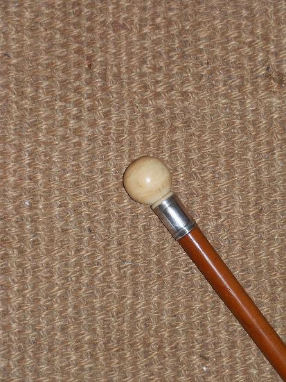 Antique Ivory Ball Handle Silver Collar Cane 94cm