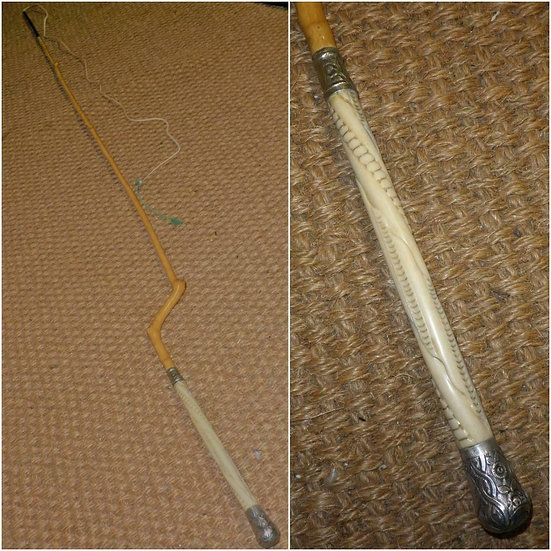 Antique Holly Shaft Dog Leg Driving Whip With Floral Design Collar & End