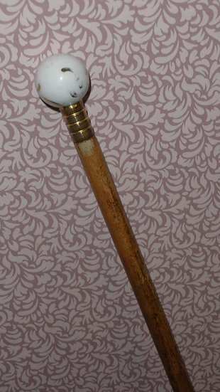 Antique Ladies Gold Plate Dress Cane With French Porcelain Ball Top - 77cm