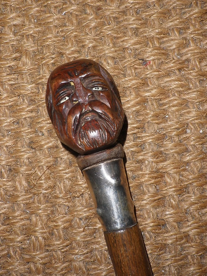 Antique 'Brigg' Rosewood Walking Stick With Carved Gentleman's Head Handle