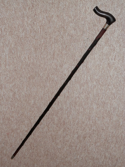 Antique Holly Walking Stick -Curved Fritz Handle W/Silver Plated 'E.Duke' Collar