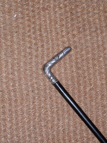 Antique Silver Art Deco Design Handle Walking Stick 88cm