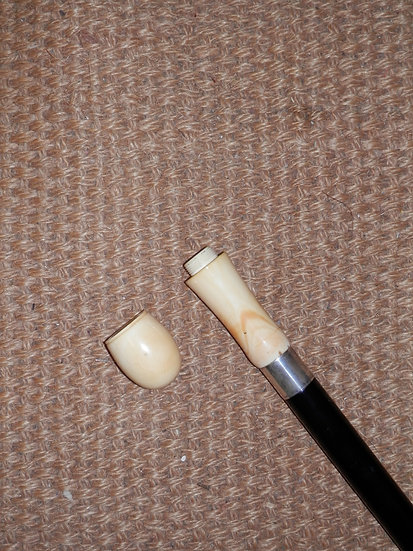 Antique Ivory Gadget Stick Blackgammon Dice and Shaker Victorian Walking Cane