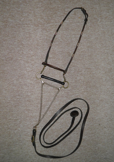 """Vintage Brown Rolled Leather Arab Bridle With 4.5"""" Rubber Bit & Leather Lead"""