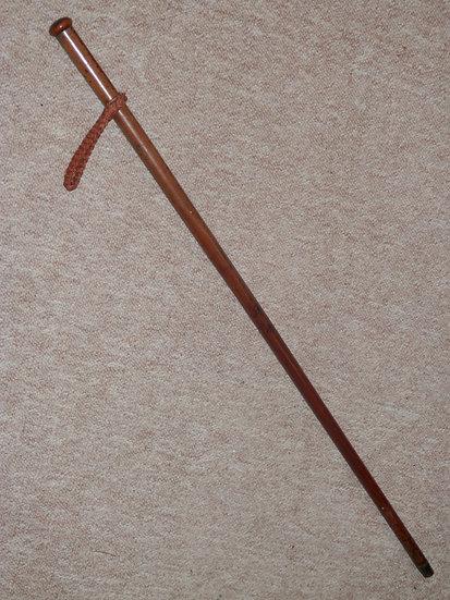 Antique Walking Stick/Cane - Rounded Treen Pommel Top & Original Wrist Strap