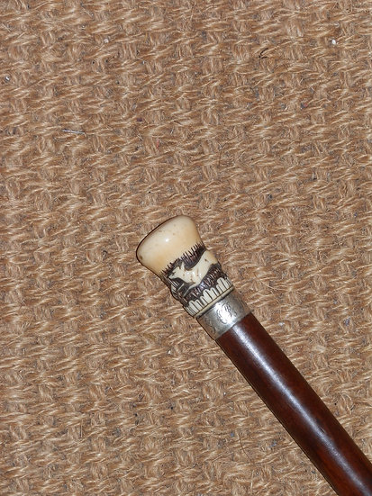 Antique Ivory Hound and Fox Hunting Silver Collar Hunting Stick