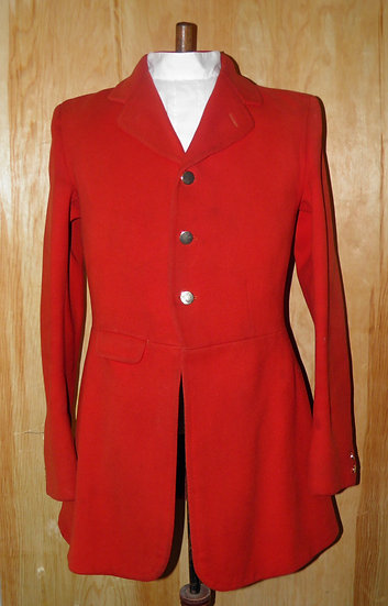 "Vintage Gents Heavy Weight Red Cavalry Twill Hunt Coat To Fit Size 40"" Chest"