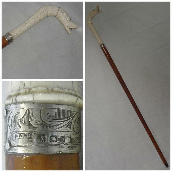 Antique Hallmarked Silver Dress Cane Carved Bone Chinese Serpent Handle 85cm