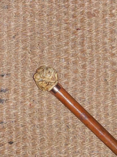 Antique Ivory Entangled Monkeys Handle Cane