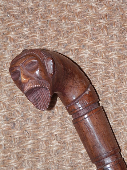 Vintage/Antique Samurai/Japanese Man Hand Carved Wooden Walking Stick 90cm