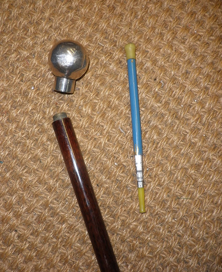 Antique Hallmarked Silver Gadget Snake Wood Cane Cigarette Holder
