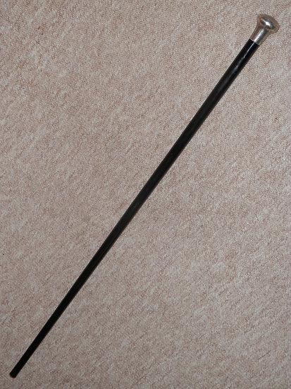 Antique Henry Tracy Ebony Walking Stick W/ Silver Pommel Top H/m London 1901