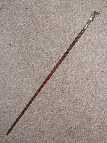 Antique W.Harrison Walking Stick W/ Brass Russian Hussar Top - Silver H/m 1912
