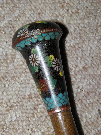 Antique French Cloisonné Topped Black Canopy Nylon Umbrella