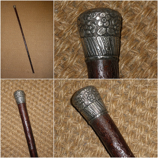 Antique Repousse Hallmarked 1892 Silver Topped Rustic Walking Stick/Cane
