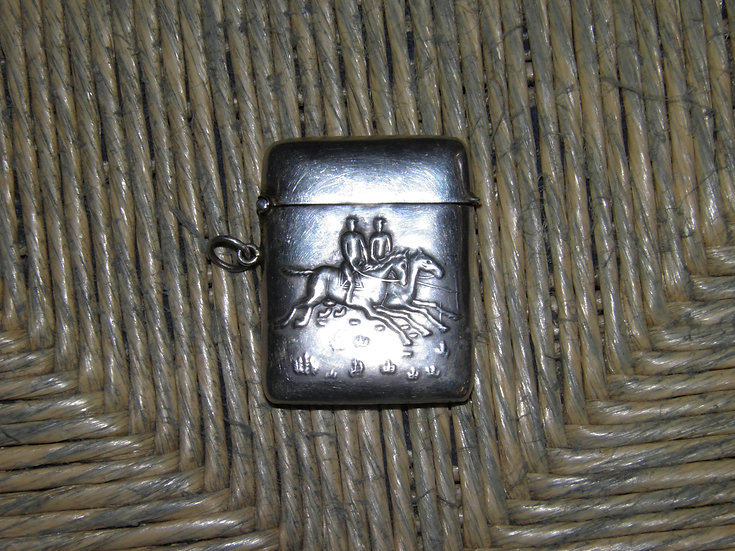 Antique Hallmarked 925 Silver Hunting Scene Themed Match Safe