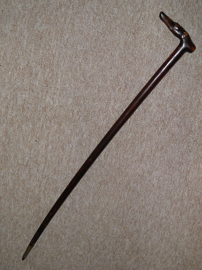 Antique Mahogany Walking Stick With Hand-Carved Whippet Dog Head Top - 89.5cm