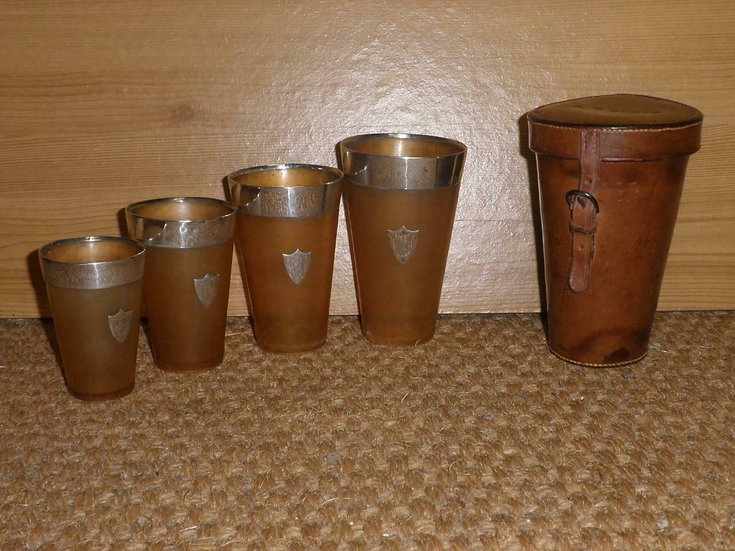 Antique 1906 Silver Set Of 4 Travel Cups With Leather Case 'A. T. Scott'