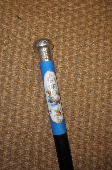 Antique Hallmarked Silver Painted Porcelain Top Ebonised Walking Stick 83cm
