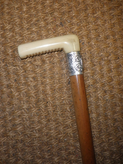 Antique Unmarked Silver Ladies Dress Cane With Carved Ivory Handle 81cm