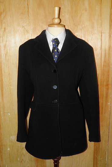 Vintage 'Caldene' English Black Pure New Wool Ladies Hunt Jacket To Fit Size 40""