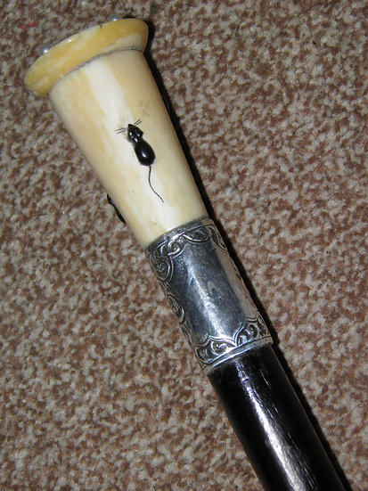 Antique Hallmarked 1920 Silver Walking Cane With Intricate Mice Detailed Handle