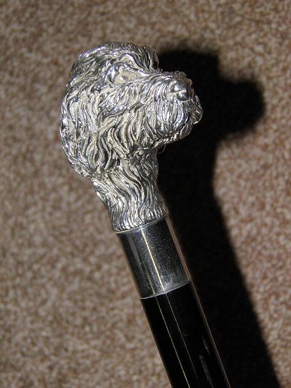 Vintage 925 Silver Detailed Deer Hound Dog's Head Walking Stick/Cane - 93cm