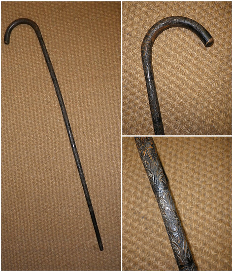 Antique Intricately Carved Floral Bamboo Crook Walking Stick/Cane