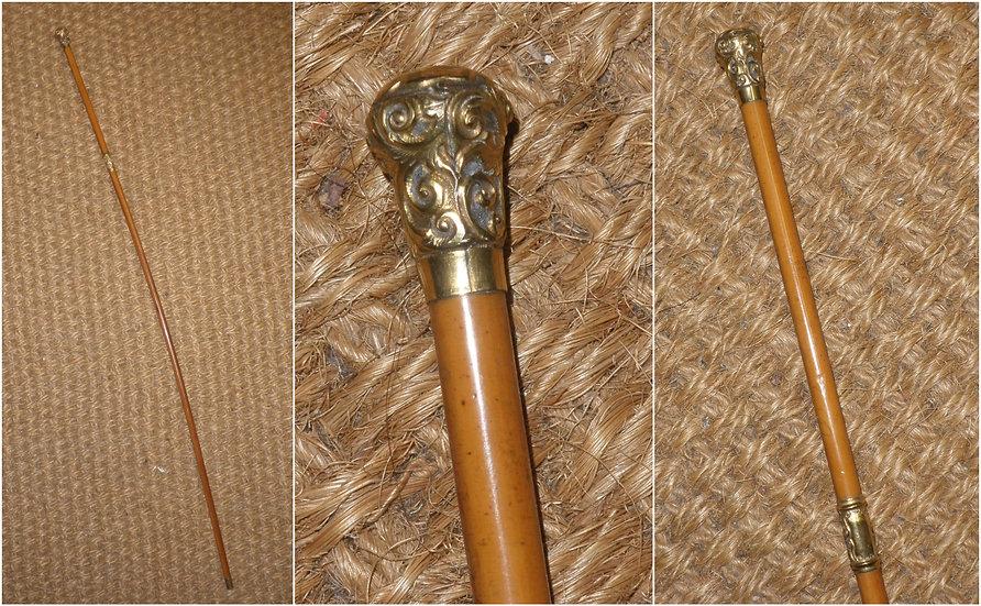 Antique Repousse Gold Plate Elegant Show Cane/Swagger Stick - 62.5cm