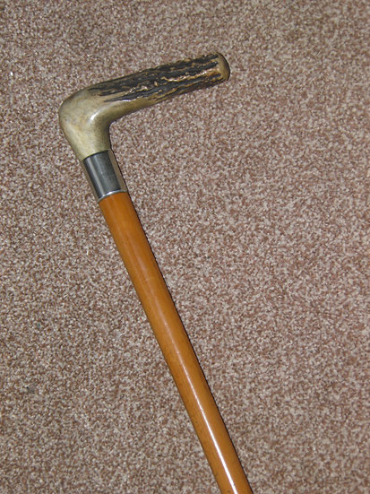 Antique Silver Malacca Cane Walking Stick With Antler Handle - 92cm
