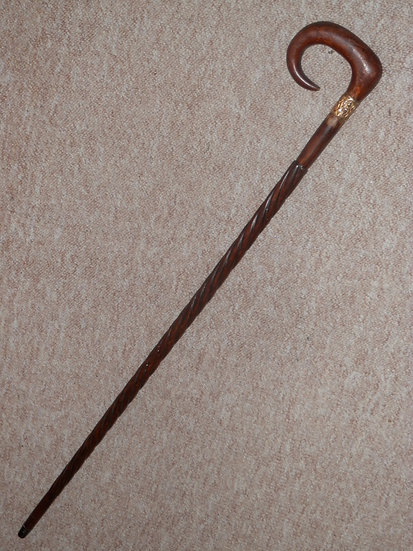Antique Walking Stick W/ Repousse Brass Collar And Twisted Mahogany Shaft - 88cm