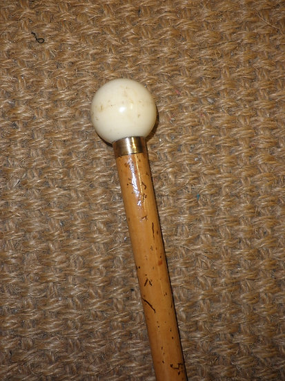 Antique Gold Plate Ivory Billiard Ball Top Walking/Dress Cane By Ben Cox