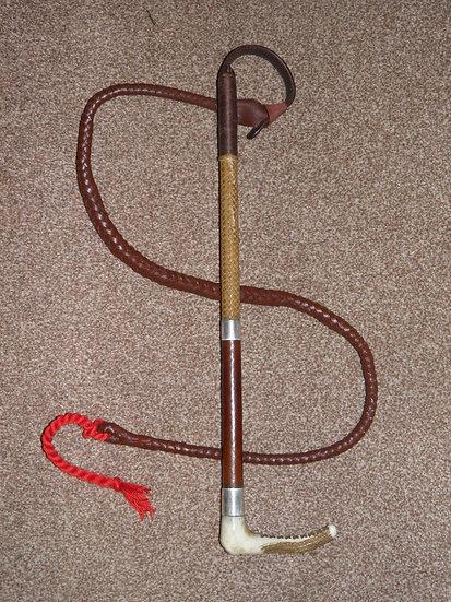 Antique Hallmarked 1908 Silver Swaine Gents Plaited Linen/Leather Hunt Whip/Lash