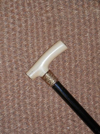 Antique Ivory Handle Repousse Floral Gold Collar Walking Stick 89cm