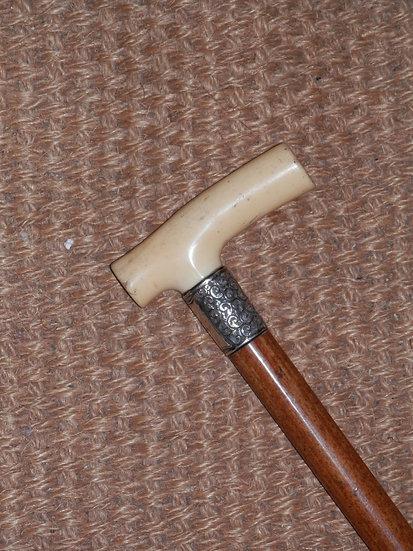 """Antique Ivory Derby Floral Collar Hallmarked Silver """"J. Shaw"""" Walking Stick 90cm"""