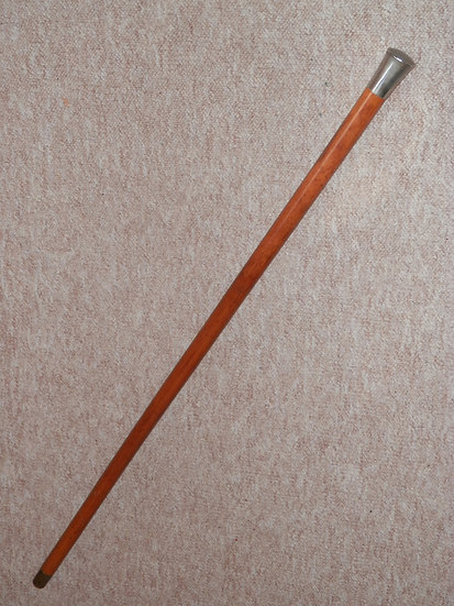 Antique Malacca Walking Stick/Cane W/ Silver Plated Pommel Top - 90.5cm